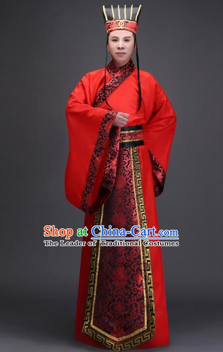 Traditional Chinese Ancient Minister Costume, China Han Dynasty Bridegroom Embroidered Clothing for Men
