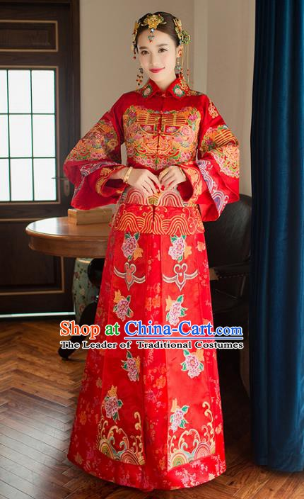 Chinese Traditional Bride Xiuhe Suit Costume China Ancient Wedding Cheongsam Embroidered Peony Clothing for Women