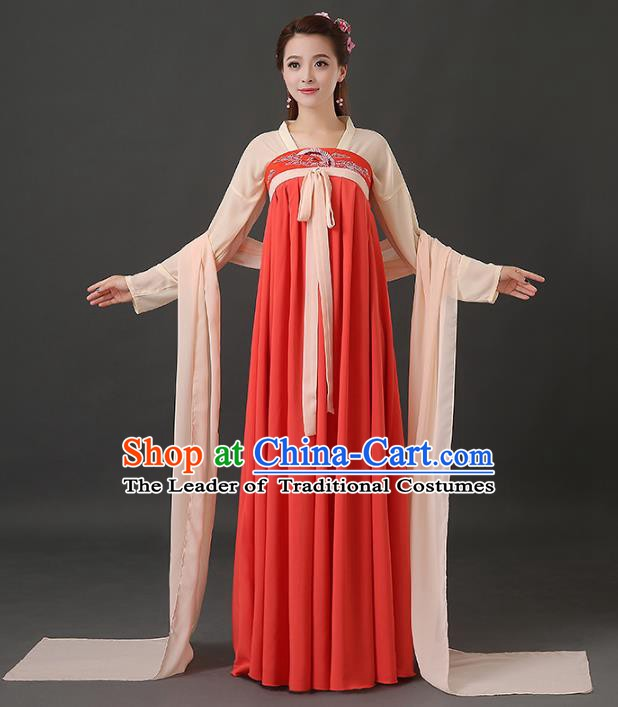 Traditional Chinese Tang Dynasty Palace Lady Embroidered Costume, China Ancient Princess Hanfu Dress Clothing for Women