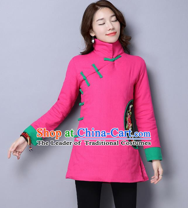 Traditional Chinese National Costume Hanfu Embroidered Peony Cotton-padded Jacket, China Tang Suit Pink Coat for Women