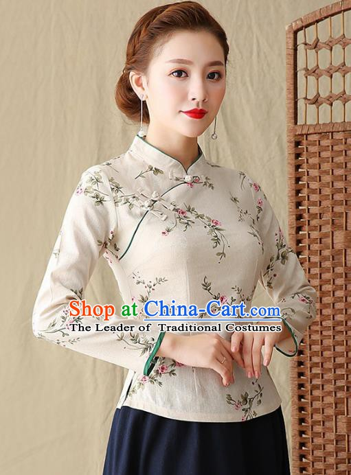 Traditional Chinese National Costume Hanfu Plated Buttons White Blouse, China Tang Suit Cheongsam Upper Outer Garment Shirt for Women