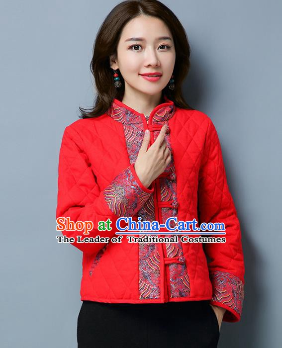 Traditional Chinese National Costume Hanfu Slant Opening Red Cotton-padded Jacket, China Tang Suit Coat for Women