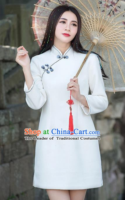 Traditional Chinese National Costume Hanfu Plated Buttons White Qipao, China Tang Suit Cheongsam Dress for Women