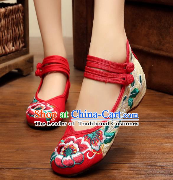 Asian Chinese National Red Embroidered Peony Shoes, Traditional China Princess Shoes Hanfu Embroidery Shoes for Women