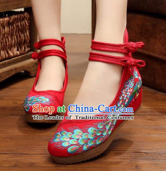 Asian Chinese National Red Embroidered Peacock Shoes, Traditional China Princess Shoes Hanfu Embroidery Shoes for Women