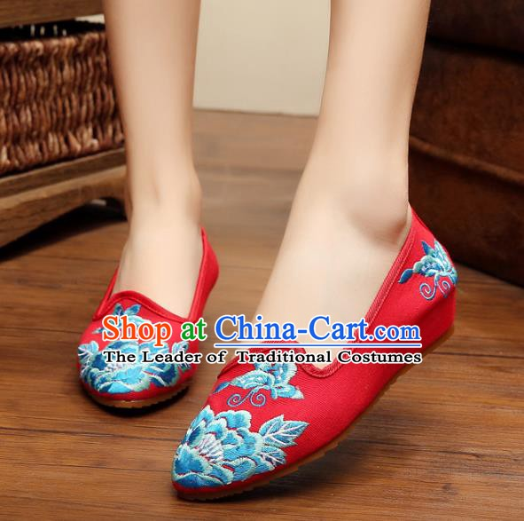 Traditional Chinese National Embroidered Shoes, China Princess Shoes Hanfu Embroidery Peony Red Shoes for Women