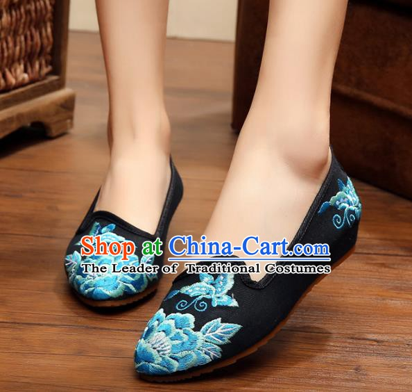 Traditional Chinese National Embroidered Shoes, China Princess Shoes Hanfu Embroidery Peony Black Shoes for Women