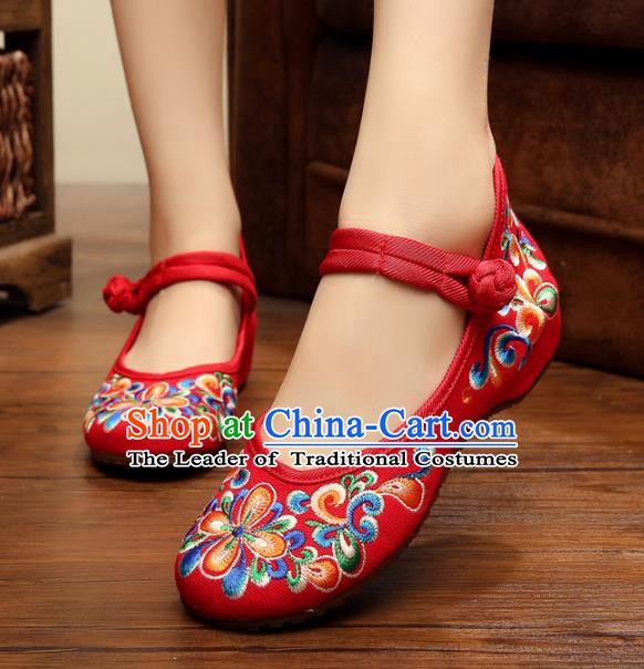 Traditional Chinese National Red Embroidered Shoes, China Princess Shoes Hanfu Embroidery Shoes for Women