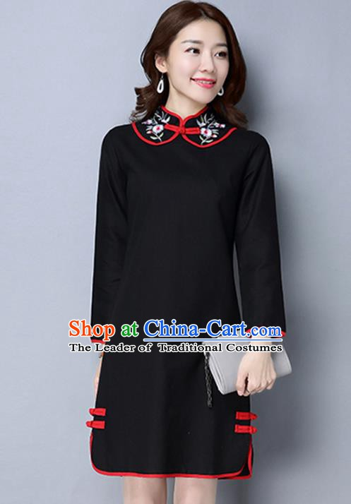 Traditional Chinese National Costume Hanfu Black Embroidered Qipao Dress, China Tang Suit Cheongsam for Women