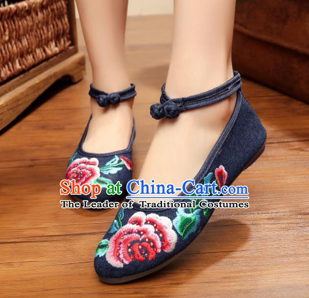 Traditional Chinese National Embroidered Peony Navy Shoes, China Princess Embroidery Shoes for Women