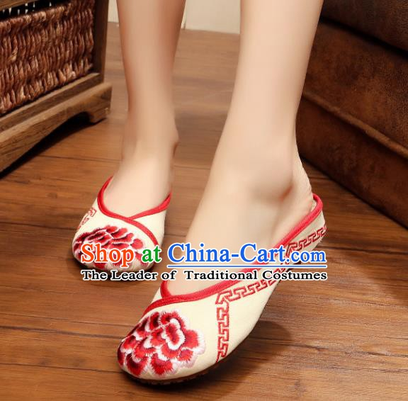 Traditional Chinese National Hanfu Embroidered Shoes, China Princess Embroidery Peony Red Slippers for Women