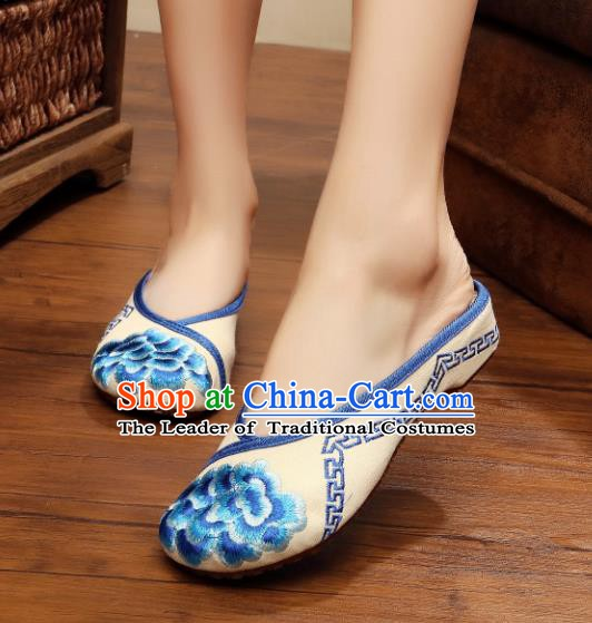 Traditional Chinese National Hanfu Embroidered Shoes, China Princess Embroidery Peony Blue Slippers for Women