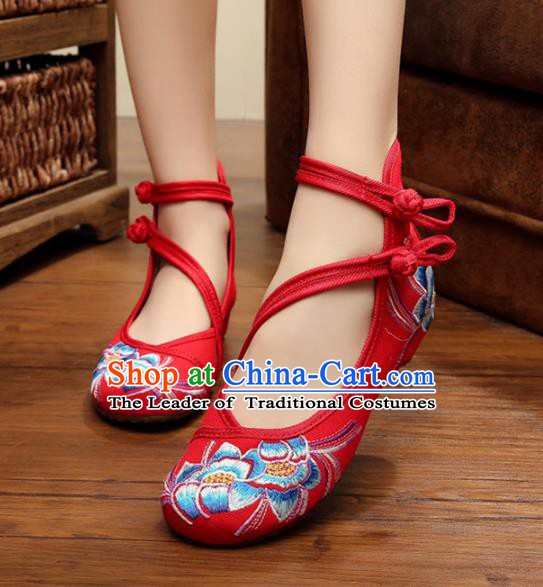 Traditional Chinese National Red Hanfu Embroidered Shoes, China Princess Shoes Embroidery Flowers Shoes for Women