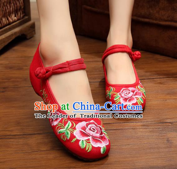 Traditional Chinese National Hanfu Shoes Red Embroidered Peony Shoes, China Princess Shoes Embroidery Shoes for Women