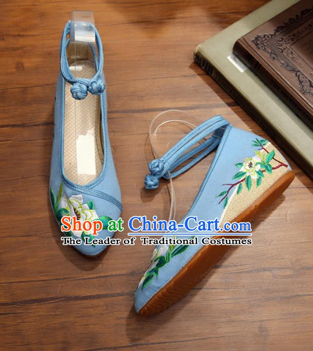 Traditional Chinese National Hanfu Shoes Blue Embroidered Shoes, China Princess Shoes Embroidery Flowers Shoes for Women