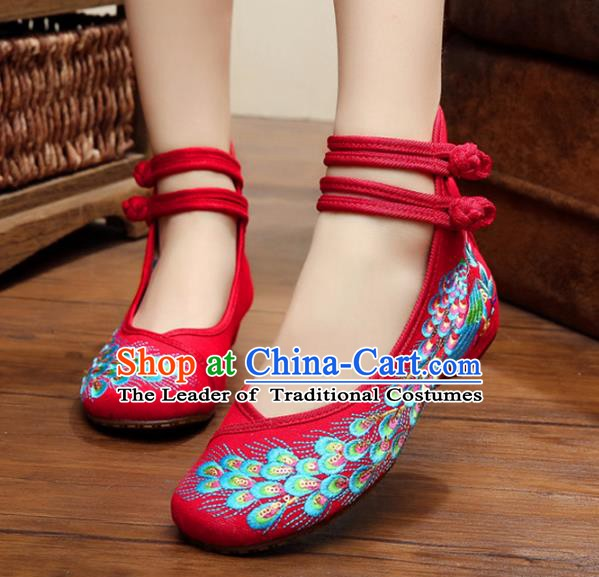 Traditional Chinese National Hanfu Thin Shoes Red Embroidered Shoes, China Princess Embroidery Peacock Shoes for Women