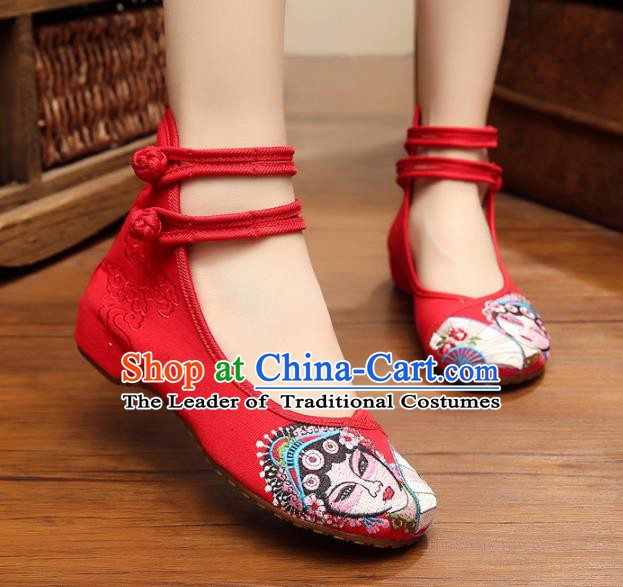 Traditional Chinese National Hanfu Shoes Red Canvas Embroidered Shoes, China Princess Embroidery Shoes for Women