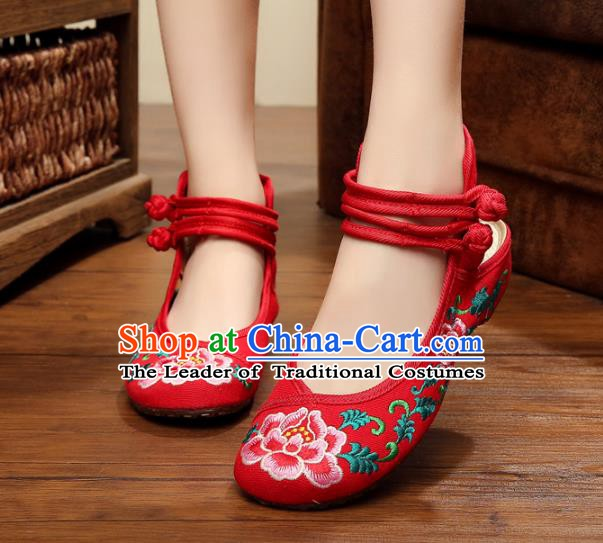 Traditional Chinese National Hanfu Shoes Embroidered Peony Shoes, China Princess Red Embroidery Shoes for Women