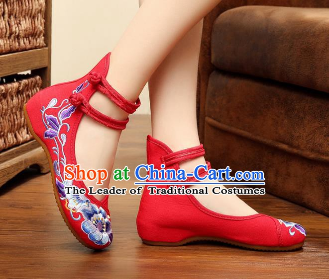 Traditional Chinese National Wedding Shoes Embroidered Peony Shoes, China Princess Embroidery Shoes for Women