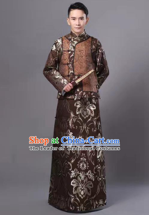 Traditional Chinese Ancient Nobility Childe Costume, China Qing Dynasty Manchu Prince Embroidered Robe and Mandarin Jacket for Men