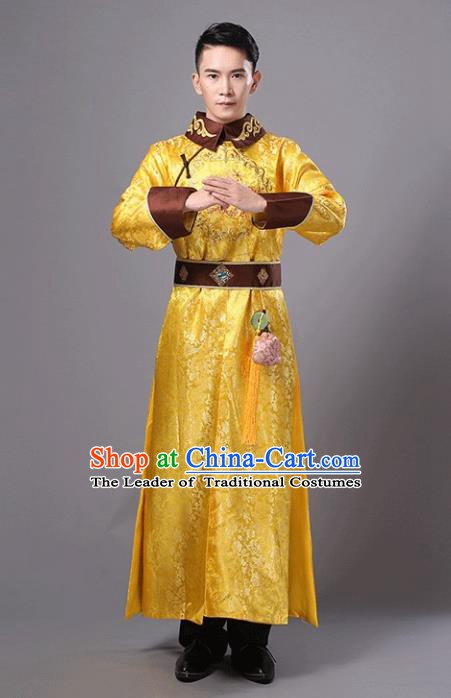 Traditional Chinese Ancient Imperial Emperor Costume, China Qing Dynasty Majesty Embroidered Clothing for Men