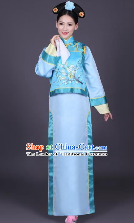 Traditional Chinese Ancient Manchu Princess Chi-pao Costume, China Qing Dynasty Palace Lady Embroidered Clothing for Women