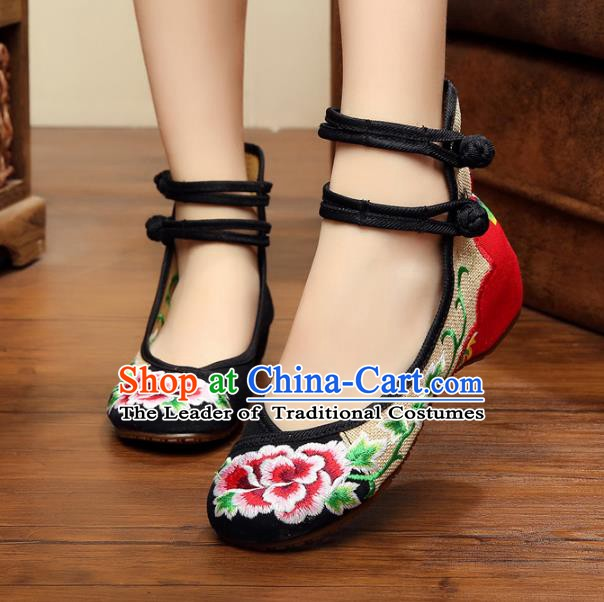 Traditional Chinese National Hanfu Linen Embroidered Peony Shoes, China Princess Shoes Embroidery Black Shoes for Women