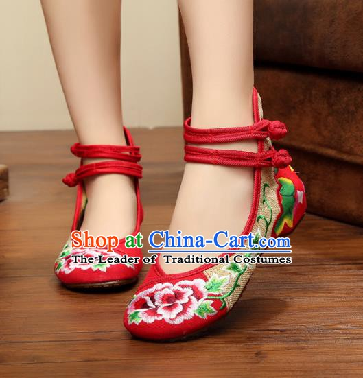 Traditional Chinese National Hanfu Linen Embroidered Peony Shoes, China Princess Shoes Embroidery Red Shoes for Women