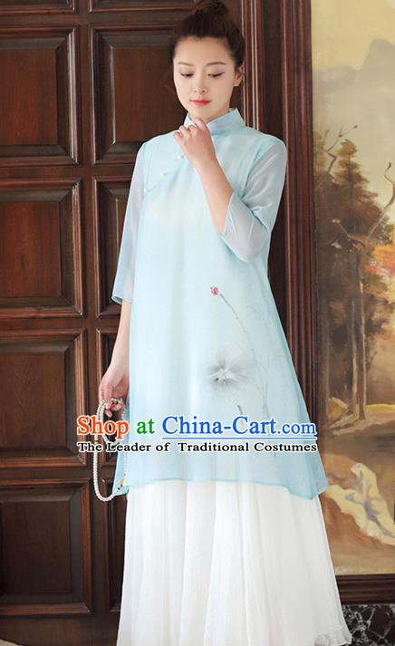 Traditional Chinese National Costume Hanfu Printing Lotus Blue Qipao Dress, China Tang Suit Cheongsam for Women