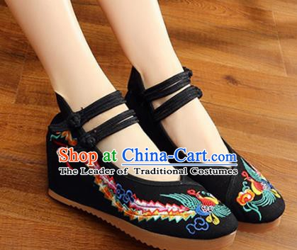 Traditional Chinese National Hanfu Wedding Black Embroidered Shoes, China Princess Embroidery Phoenix Shoes for Women