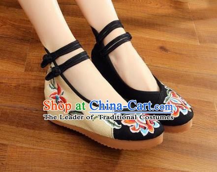 Traditional Chinese National Hanfu Wedding Black Embroidered Shoes, China Princess Embroidery Peony Shoes for Women