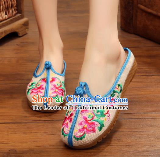 Traditional Chinese National Hanfu Embroidered Slippers, China Princess Embroidery Peony White Shoes for Women