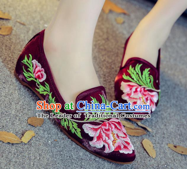 Traditional Chinese National Hanfu Embroidery Peony Shoes, China Princess Purple Embroidered Shoes for Women