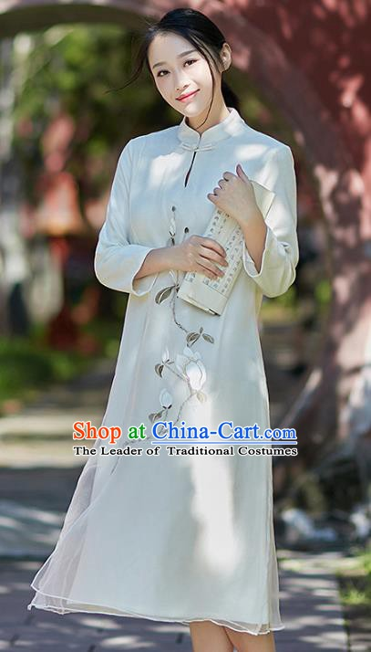 Traditional Chinese National Costume Hanfu Painting Magnolia White Qipao Dress, China Tang Suit Cheongsam for Women