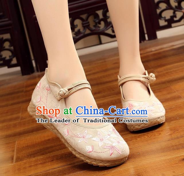 Traditional Chinese National Hanfu Embroidery Cherry Blossom White Shoes, China Princess Embroidered Shoes for Women
