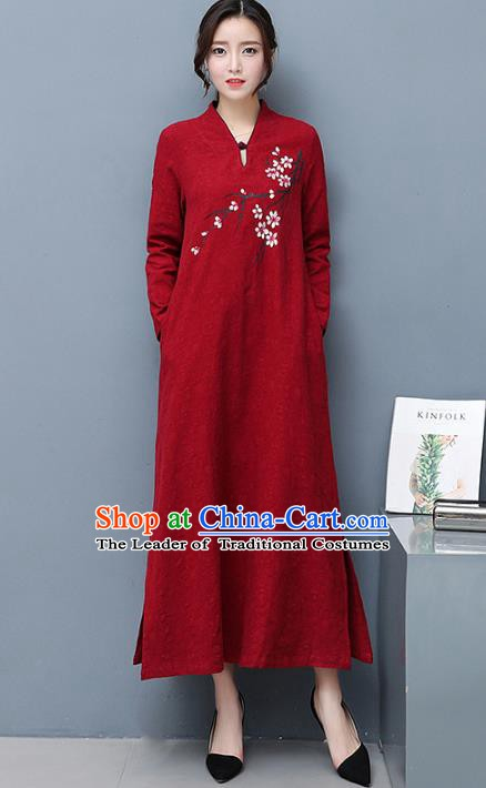 Traditional Chinese National Costume Hanfu Printing Plum Blossom Qipao Dress, China Tang Suit Cheongsam for Women