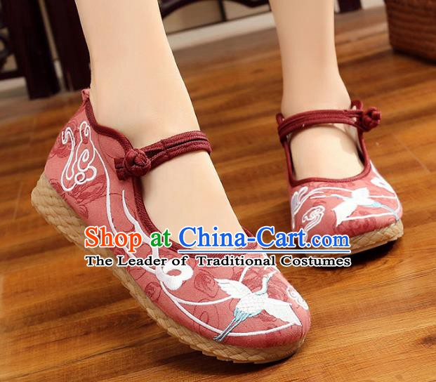 Traditional Chinese National Hanfu Red Embroidery Crane Shoes, China Princess Embroidered Shoes for Women