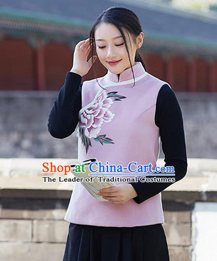 Traditional Chinese National Costume Hanfu Painting Peony Woolen Vests, China Tang Suit Waistcoat for Women