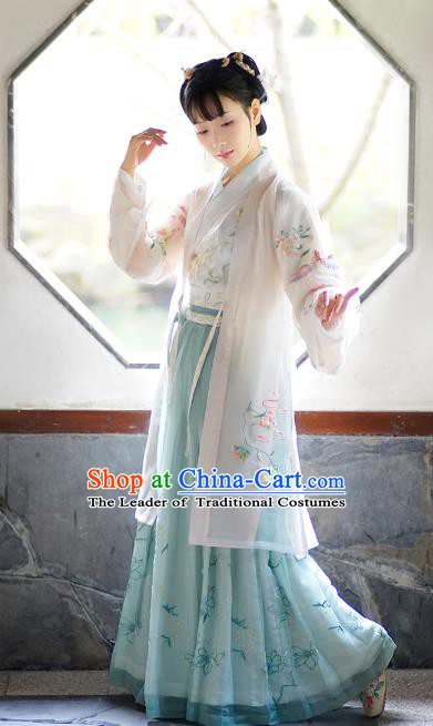Traditional Chinese Ancient Princess Costume Embroidered Beizi Cardigan for Women