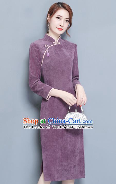 74033aa4437 Traditional Chinese National Costume Hanfu Red Linen Qipao Dress ...