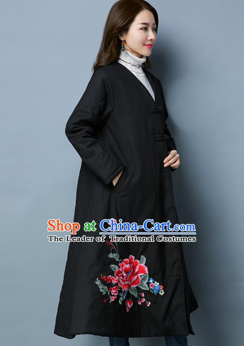 Traditional Chinese National Costume Hanfu Embroidered Black Cotton-padded Coat, China Tang Suit Coat for Women