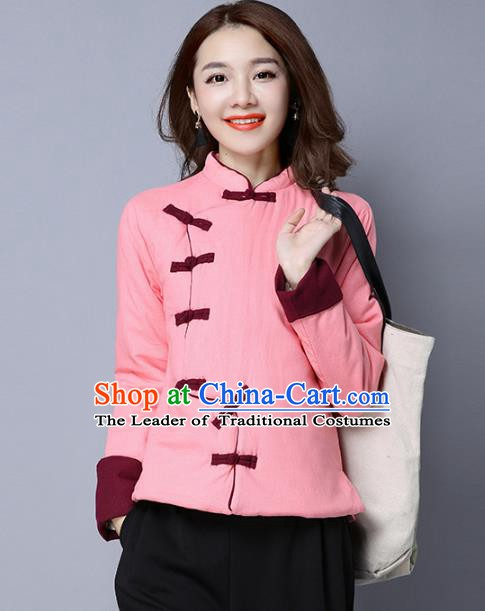 Traditional Chinese National Costume Hanfu Pink Cotton-padded Jacket, China Tang Suit Coat for Women