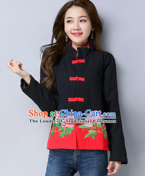 Traditional Chinese National Costume Hanfu Black Embroidered Jacket, China Tang Suit Coat for Women