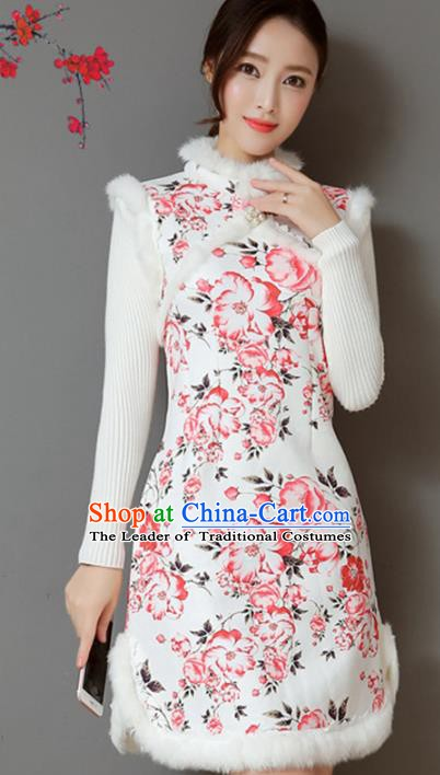 Traditional Chinese National Costume Hanfu Qipao Dress, China Tang Suit Cheongsam Vests for Women