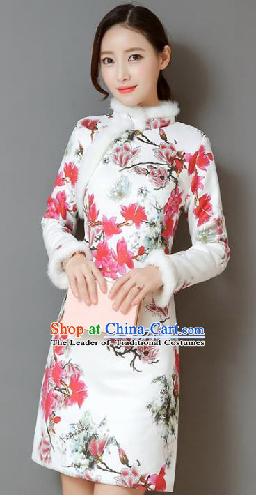 Traditional Chinese National Costume Hanfu Printing Qipao Dress, China Tang Suit Cheongsam for Women