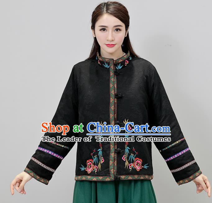 Traditional Chinese National Costume Hanfu Embroidered Black Jacket, China Tang Suit Coat for Women