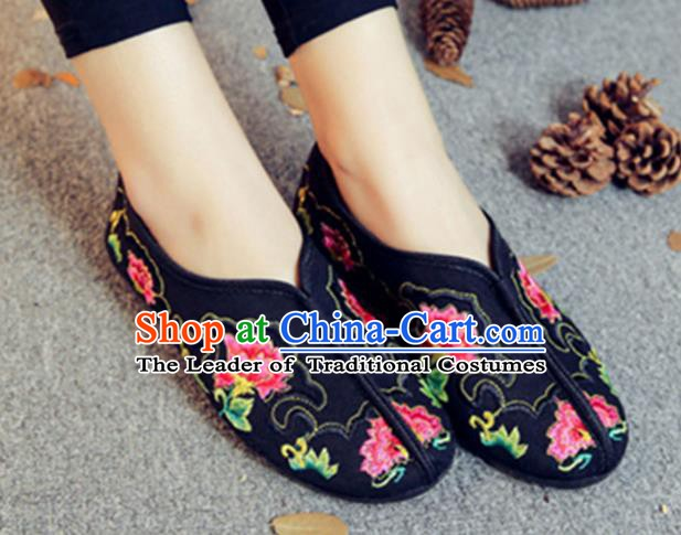 Traditional Chinese National Hanfu Embroidery Peony Black Shoes, China Ancient Embroidered Shoes for Women