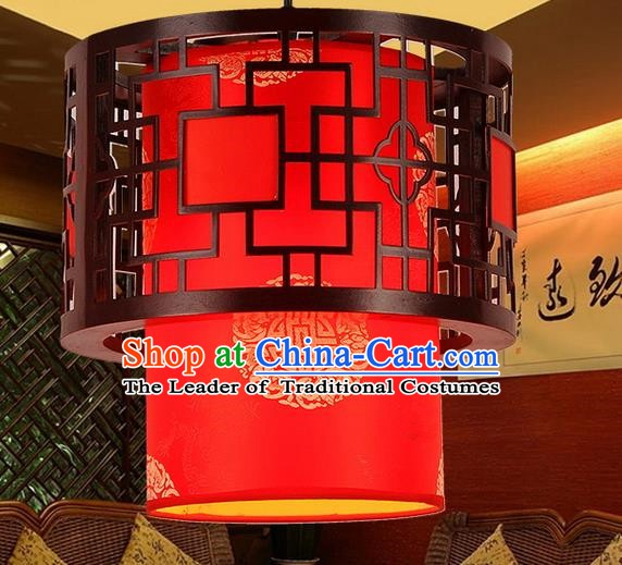 Traditional Chinese Handmade Wood Lantern Red Sheepskin Palace Lantern China Ceiling Palace Lamp