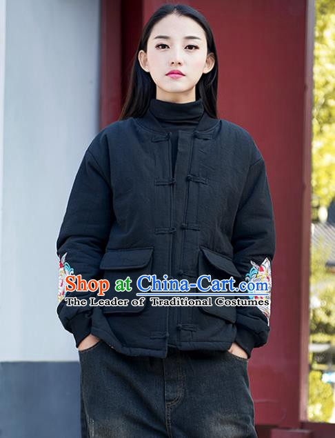 Traditional Chinese National Costume Hanfu Embroidered Black Cotton-padded Jacket, China Tang Suit Coat for Women