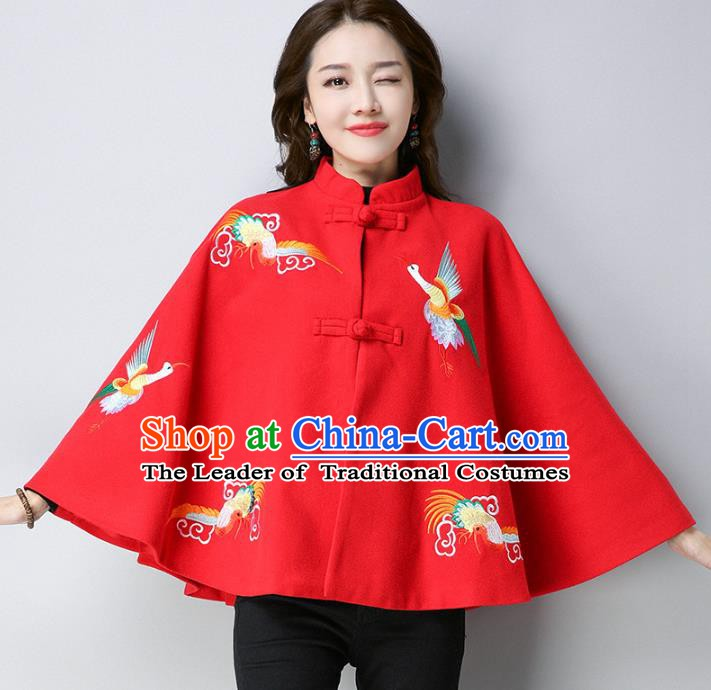 Traditional Chinese National Costume Hanfu Red Embroidered Red Cloak, China Tang Suit Cape for Women